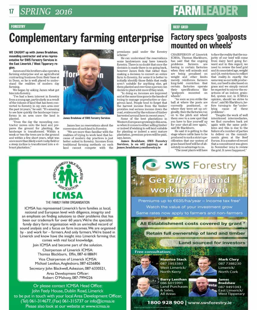James Bradshaw, SWS - Limerick Leader - Spring Farming 2016